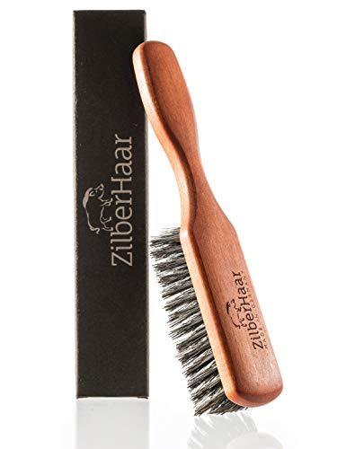 Brosse à barbe ZilberHaar (poils doux) | 100% poil de sanglier et bois de poirier allemand | Pour tous types de baumes et huiles pour la barbe | Fabriquée en Allemagne