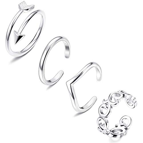 FIBO STEEL 4 Pcs Open Toe Rings for Women Arrow Tail Band Toe Ring Adjustable