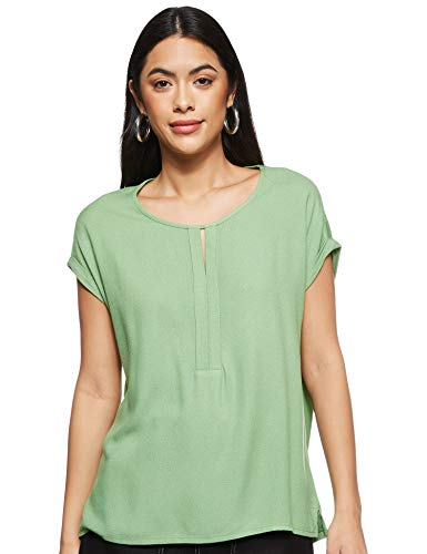 TOM TAILOR Damen T-shirt Halbarm aus Chiffon T Shirt, Sundried Turf Green, M EU