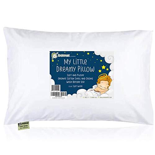 Almohada infantil con funda de almohada – 13 x 18 suaves almohadas de algodón orgánico para dormir – lavable a máquina – niños pequeños, niños, niña, perfecto para viajar, cuna, juego de cama (blanco suave)