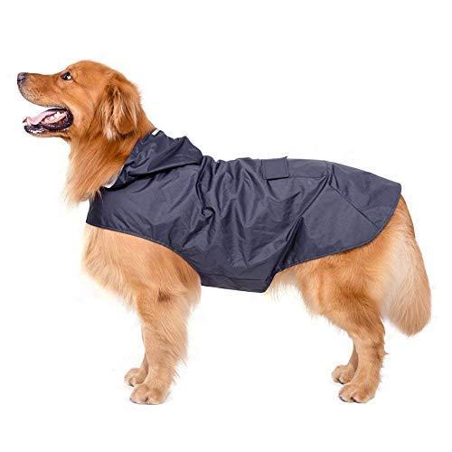 Bwiv Hunde Regenmantel Wasserdicht Hundemantel Groß Gefüttert Ultraleichte Atmungsaktive Hundejacke Reflexstreifen Regenjacke Hunde Mit Kapuze 3XL-6XL Blau 6XL