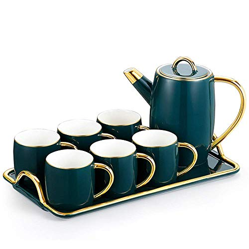 XINGYU Tea Sets 6 Piece Cups And Coffee Tray Afternoon Tea Drinkware Coffee Set 8 Pieces Nordic Style Glazed Porcelain Coffee And Tea Service For Party And Dinner For Household