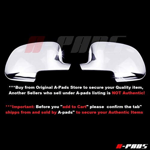 A-PADS Chrome Full Mirror Covers for GMC Sierra [All Models] 1999-2006 + Classic 2007 - Chromed Mirrors Pair