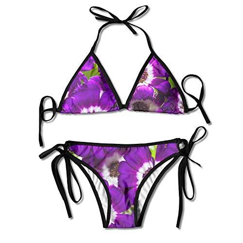 Women's Thong Bikini Suit Swimsuit Bealtiful Purple and White Flowers Sexy Bikini Set 2 Piece