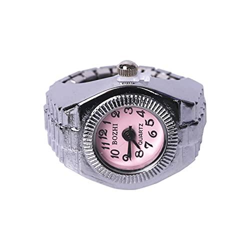 minjiSF Anillo en forma de reloj de plata, regalo vintage, reloj de anillo, elegante, anillo único multiusos, joya cuadrada a la moda, números romanos, reloj de dedo con personalidad, anillos (rosa)
