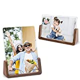 Picture Frame - MEKO 5x7 Inch Wood Rustic Photo Frame Made of Walnut Wood Base and High Definition Break Free Acrylic Covers for Tabletop or Desktop Display - 2 Pack (Horizontal + Vertical)