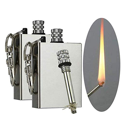 Scoutdoors Permanent Match & Emergency Lighter, Waterproof & Windproof - Stainless Steel Flint Fire Starter Survival Tool (1)