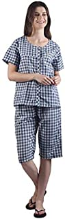 Gemmy Days Womens Check Pajama Set Embroidery/Size L/Navy. Soft Poly-Cotton Fabric.