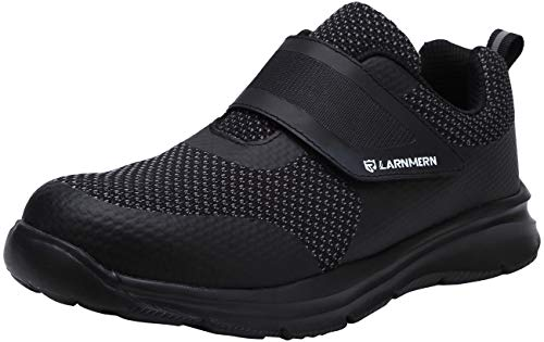 LARNMERN Chaussure de Securité Homme Légères,LM180121 SBP Embout en Acier Respirables Réfléchissantes Chaussures de Travail 47 EU,Triple Noir