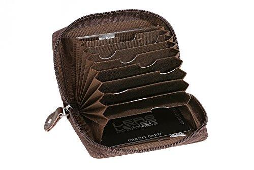 Universele heren portemonnee RFID & creditcardhoes extra compact met NFC-bescherming LEAS in echt buffelleer met geschenkdoos