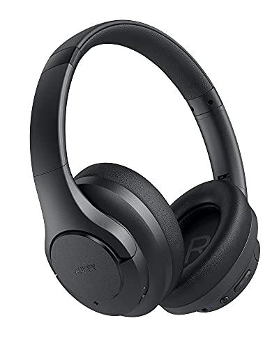 AUKEY Cuffie Bluetooth 5 Over Ear, Cancellazione Ibrida Del Rumore, Basso Migliorato, Ricarica Rapida USB-C, Batteria Fino a 40 ore, Cuffie Wireless con Microfono per Gaming, Viaggio, Casa
