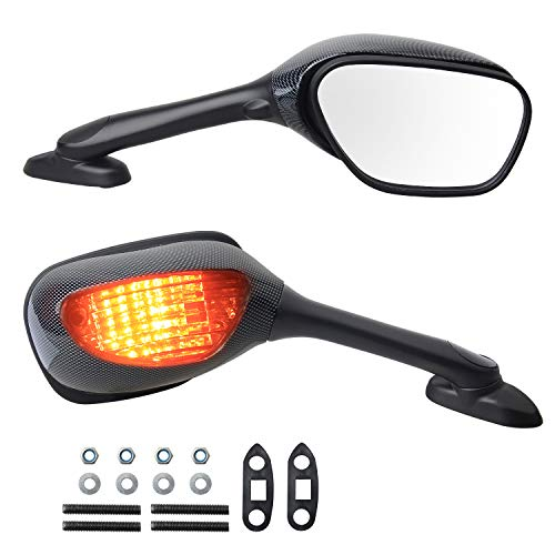 NTHREEAUTO Motorcycle Rear Side View Mirrors Integrated with Signal Light Kit Compatible with Suzuki GSXR1000, GSXR600, GSXR750