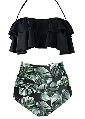 AOQUSSQOA Damen Badeanzug Rüschen Hals Hängen Bikini Sets Zweiteilige Bademode mit Hoher Taille Strandkleidung (EU 42-44 (L),Schwarzes Blatt)