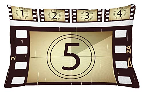Ambesonne Movie Theater Throw Pillow Cushion Cover, Scratched Film Strips Vintage Movie Frame Pattern Grunge Illustration, Decorative Square Accent Pillow Case, 26 X 16 Inches, Beige Brown White