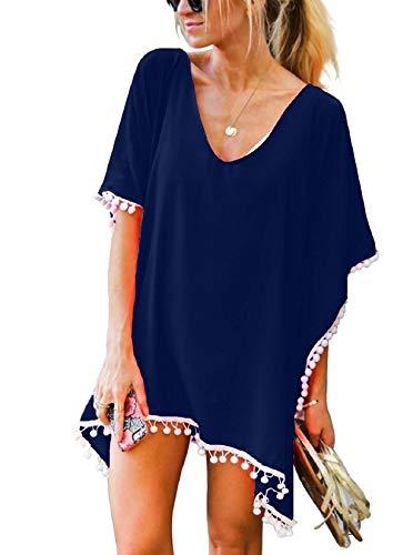 Voqeen Vestido de playa para mujer, con borlas, vestido de verano, túnica, caftán, playa, camisa.