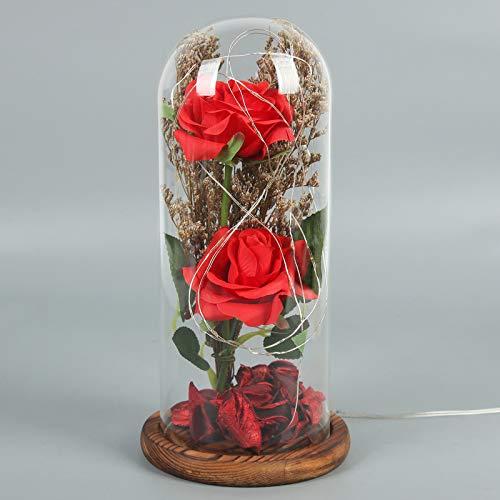XHDH Eterno Rose bajo la Campana con Luces LED Luces Artificial Flor de Vidrio Cúpula Seda Pétalos de Rosa, Regalo para Día de San Valentín Día de la Madre Decoración de cumpleaños (Rose),Rojo