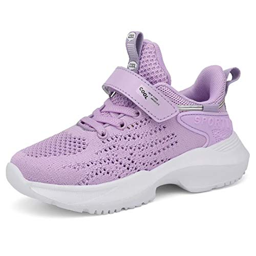 Kinder Turnschuhe Mädchen Sportschuh Sneakes Sport Kinderschuhe Atmungsaktiv Hallenschuhe mit Kettverschluss Girls Draußen Schuhe Glitter(EU 37, Lila)