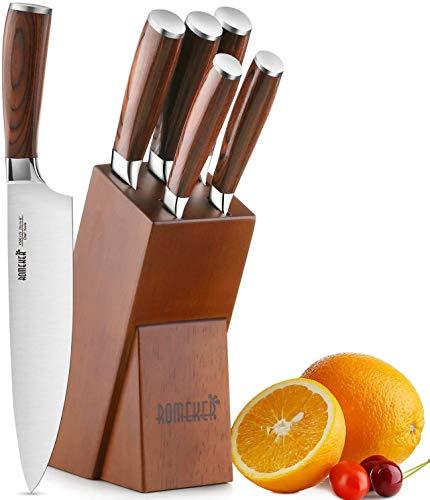 ROMEKER Messerblock Messerset Küchenmesser Kochmesser Set Brotmesser Tranchiermesser Universalmesser Schälmesser Extra Scharf Edelstahl mit Holzblock, 9-20cm Klingenlänge,6-Teilig