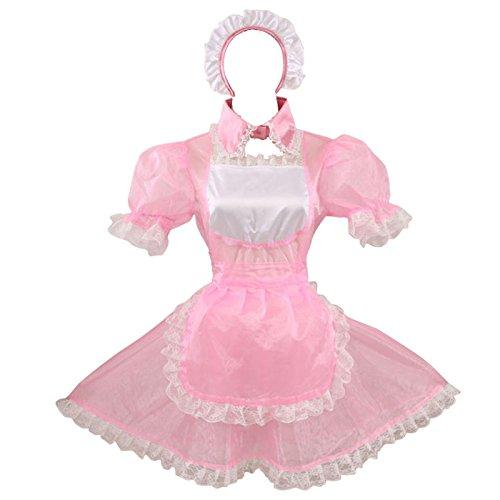 Gocebaby Sissy Dienstmädchen Organza Rosa Abschließbar Kleid Uniform (XL)