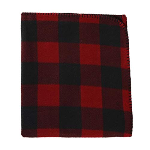 Cannon Throws Fleece Blanket, Plaid, 50-inches by 60-inches (Red...