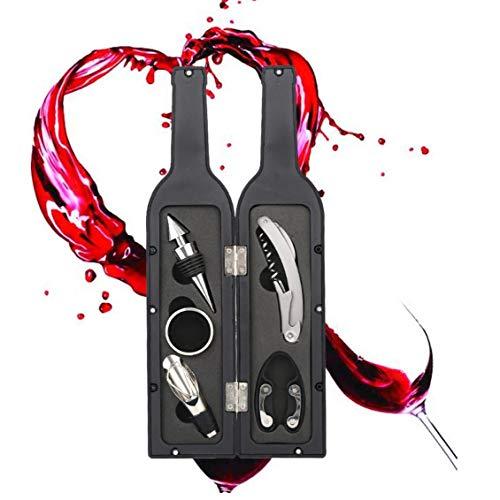 Abrelatas del Vino Gift Set 5pcs Vino Accesorios Gift Set Incluye Sacacorchos, Tapón, Vertedor De Vino, Lámina Cortadora, Sistema De Herramienta De Goteo Anillo del Vino por Un Amante del Vino Índice