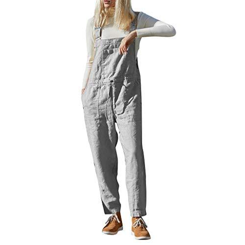 Xmiral Hosen Damen Einfarbig Tunnelzug Taille Overall Jumpsuit mit Tasche Slim Gerade Hosenanzug Latzhose(Grau,L)