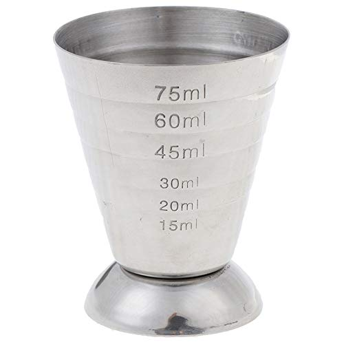 FANGPAN Vaso medidor de Metal de 75 ml Herramienta para Beber con ml/oz Barra de Jigger de Onza de Tiro Vaso de cóctel Mezclado 0.5-2.5oz / 15-75ml / 1-5Tbsp