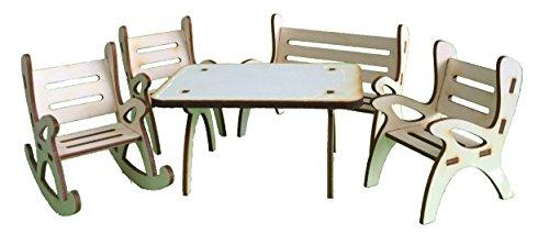 Petra's knutsel-News A-GMH08FS2 tafelgroep, bestaande uit 1 x tafel, 1 x tuinbank, 1 x schommelstoel en 2 stoelen van hout, 5-delig