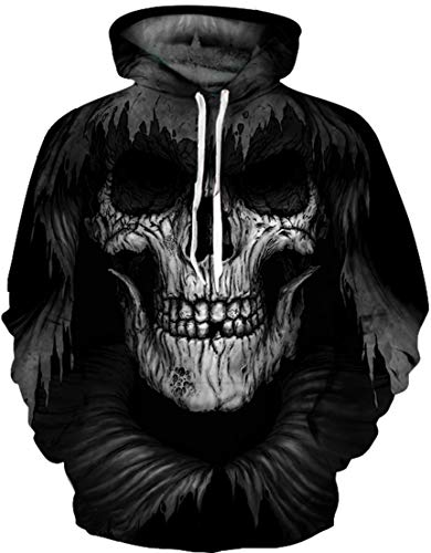 Pandolah Men's Athletic 3D Animal Cosmic Galaxy Printed Hoodies Sweatshirts (Ugly Skull-a, Large/X-Large)