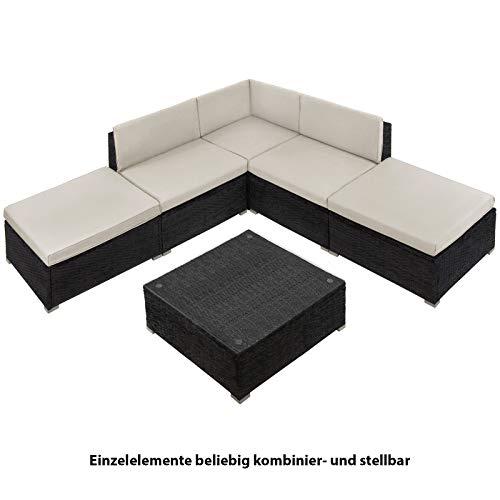 BB Sport 15-teilige Polyrattan Lounge Gartengarnitur Beistelltisch Frei Kombinierbare Elemente Ecklounge Ecksofa Terasse Outdoor, Farbe:Sandstrand - 3