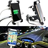 CEUTA® Motorcycle Phone Mount with USB Charger Port,Bike Motorcycle Cell Phone Holder Mount