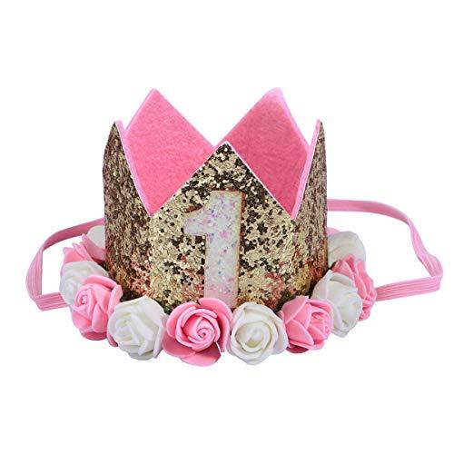 YEAHIBABY Baby Prinzessin Tiara Crown Baby Mädchen erste Geburtstags Hut Blumen Stirnband