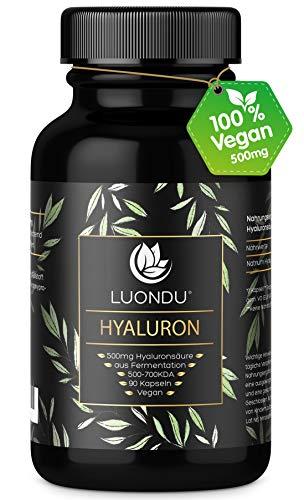 Luondu Hyaluronsäure Kapseln - Besonders hochdosiert: 500mg pro Kapsel - 90 Stück (3 Monate) Hyaluron Tabletten mit 500-700 kDa I Laborgeprüft, Vegan, hergestellt in DE