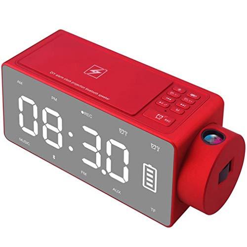 QAIYXM Projektions-Wecker Bluetooth-Lautsprecher mit Wireless-Charging DIY Klingelton, One-Click Snooze, Bluetooth Anruf Lautsprecher, FM Radio, TF-Karten-Eingang (Farbe: Schwarz),B