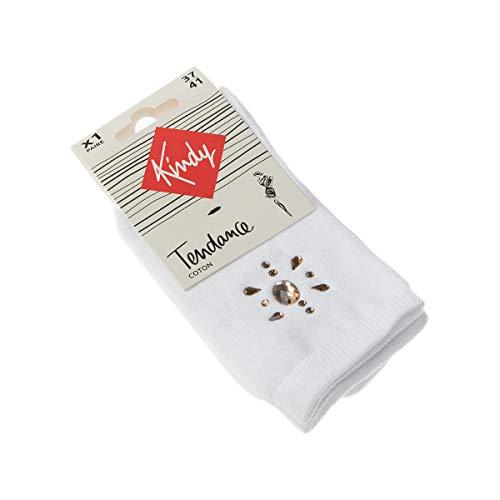 Kindy – Socken mit Strass aus Baumwolle Gr. 37-41, weiß