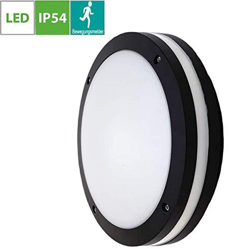18W LED Aussenleuchte Schwarz, Rund Außen-Deckenleuchte, Außenleuchte mit Bewegungsmelder, Flurlampe, Gargenleuchte, Kellerleuchte, IP54-geschützt, Lackiertes Aluminium, 200mm im Durchmesser,Kaltweiße