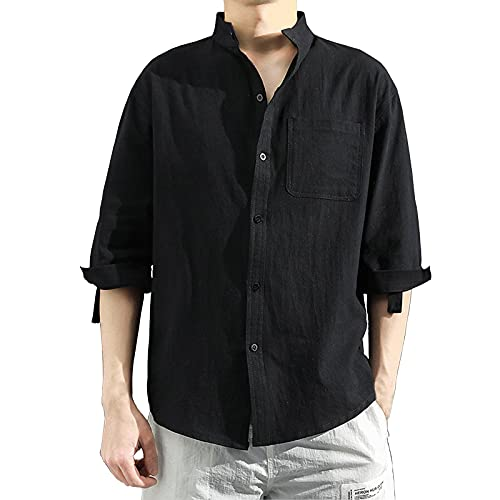 Men's Shirts Short Sleeve Button Up Turn-Down Collar Casual Solid Half Sleeve Cotton Linen Loose Tops Tees Blouse Black