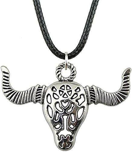 huangxuanchen co.,ltd Halskette Halskette Leder Kette Halskette Für Frauen Antik Silber Antik Bronze Farbe 50X34Mm Ngau Tau Anhänger Weibliche Halskette Geschenk