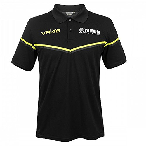 Valentino Rossi VR46 Yamaha MotoGP Herren-Poloshirt, offizielles Produkt der Black Line Reihe