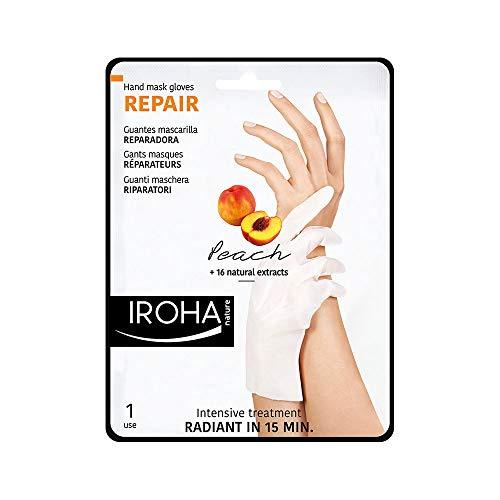 Iroha Nature - Guantes Reparadores para Manos con Melocotón, Pomelo y Vitamina E, 2 Guantes para un uso | Mascarilla Guantes Reparadora Melocotón