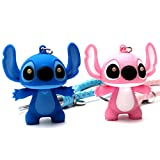 FASHION ALICE 2PCS Stitch Keychain+2PCS Leather Strap, 2' Action Figure LED Keychain Ring,Say I LOVE YOU,Pendant,Accessories,Keys Pendant, Jewelry Accessories Gift