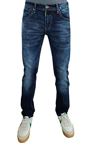 Etzo Denim Jeans | Skinny Fit Straight Leg Premium Stretch Fashion Jeans for Men (Dark Blue, 32W X 32L)