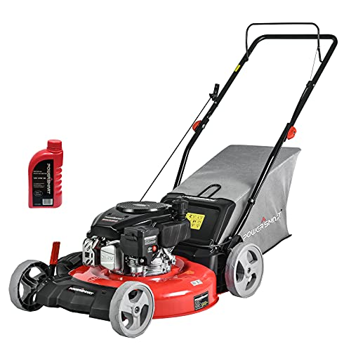 PowerSmart Gas Lawn Mower DB2321PR, 21 in. 144cc Gas Powered Walk Behind Push Lawn Mower, 3-in-1 with Bag, 5 Cutting Height Adjustable, Oil Included