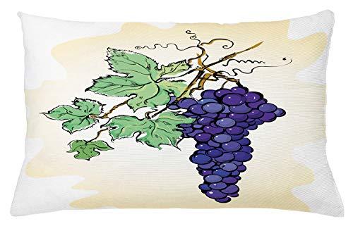 ABAKUHAUS UVA Copricuscino, Frutta Concorde con Foglie, A Prova di Macchia e Resistente all'Acqua, 65 x 40 cm, Champagne Multicolor