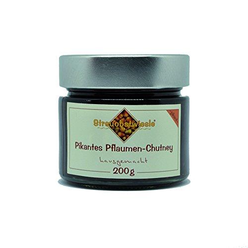 Streuobstwiesle Pikantes Pflaumen Chutney - 200 g - Herzhafte, aromatische Sauce zum Grillen, zum Fondue, zum Raclette, zum Kase, zum Reis...