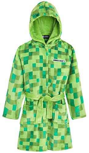 Minecraft Bademantel Kinder, Fleece Morgenmantel Pixel, Weiches Kuschelige Bademantel mit Kapuze für Jungen, Flanell Mantel Teenager, Nachtwäsche Robe Mädchen (Grün, 5-6 Jahren)