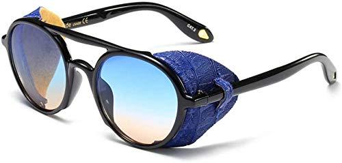 ZYIZEE Gafas de Sol Gafas de Sol con Escudo de Moda para Hombre Gafas de Sol Retro Punk Negras de Cuero Redondas para Mujer Verano Uv400-azul