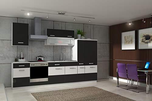 Küche Fabienne 310 cm Küchenzeile in schwarz/weiß - Küchenblock variabel stellbar