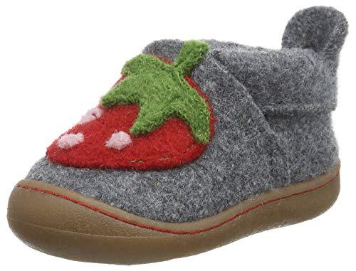 Pololo Unisex-Kinder WOLL Primero Erdbeere Niedrige Hausschuhe, Grau (Grau 826), 21 EU