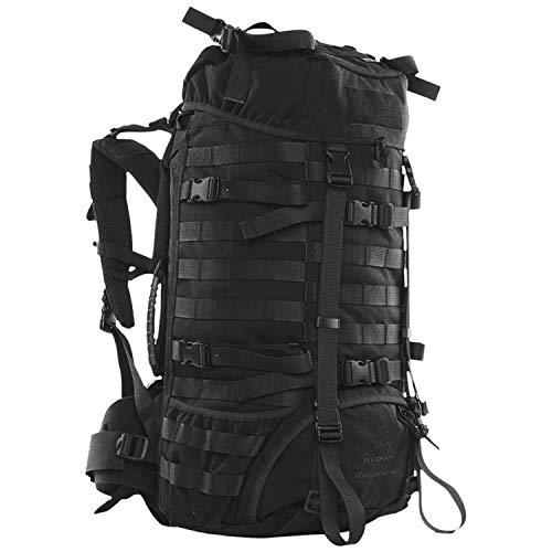 Wisport schwarzer Trekking Rucksack groß + inkl. E-Book | Backpack robust schwarz | Outdoor Survival | Abenteuer | Wanderung | wandern | Camping | Ausflüge | Cordura | Raccoon 45L, Black